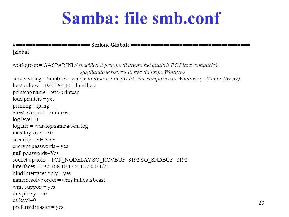 Samba: file smb.conf #======================= Sezione Globale ===================================== [global]